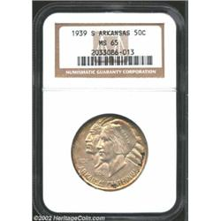 1939-S 50C Arkansas MS65 NGC. Natural hues of russet are strewn about the details. The devices are n