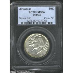 1939-S 50C Arkansas MS66 PCGS. The surfaces are unbelievably smooth for an Arkansas Half, or any com