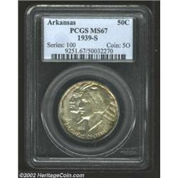 1939-S 50C Arkansas MS67 PCGS. Few Arkansas Commems of any issue can match the technical quality and