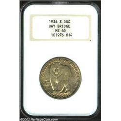 1936-S 50C Bay Bridge MS65 NGC. Pleasing satiny luster remains unbroken by luster grazes, even on th