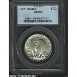 1936-S 50C Bay Bridge MS65 PCGS. Both the obverse and reverse are thickly frosted with a mostly silv