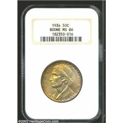 1934 50C Boone MS66 NGC. Matte orange and russet toning add lure and eye appeal. Important notice: W