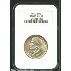 1934 50C Boone MS67 NGC. This may be one of the finest specimens of this type in superb-Gem conditio