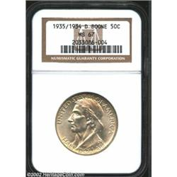 1935/34-D 50C Boone MS67 NGC. This smooth, golden tinged example is every bit the Superb Gem. While.