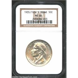 1935/34-S 50C Boone MS66 NGC. Attractive, original luster is almost matte-like in appearance. A typi