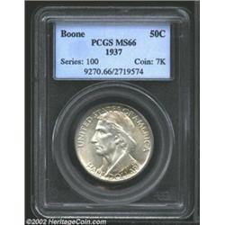 1937 50C Boone MS66 PCGS. Well struck and mark-free, this is an exceptionally nice representative of
