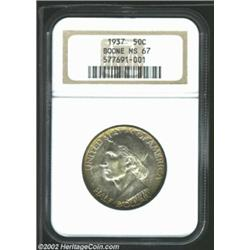 1937 50C Boone MS67 NGC. Lovely gold and powder-blue peripheral patina increases the eye appeal of t