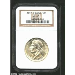 1937-D 50C Boone MS67 NGC. A pleasing, well-struck Superb Gem with splendid satiny luster and seemin