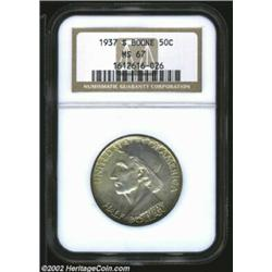 1937-S 50C Boone MS67 NGC. The rather intricate reverse design of this Superb Gem is fully detailed,