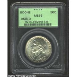 1938-D 50C Boone MS66 PCGS. Aside from some inconsequential luster grazes, this commemorative boasts