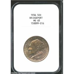 1936 50C Bridgeport MS65 NGC. The otherwise olive-gold toning yields to blushes of lilac-gray color.