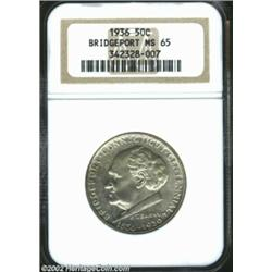 1936 50C Bridgeport MS65 NGC. Lustrous and smooth, the otherwise silver-gray features exhibit dapple