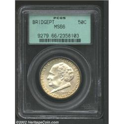 1936 50C Bridgeport MS66 PCGS. The strike is bold for the issue, and few imperfections are visible..