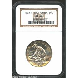 1925-S 50C California MS65 NGC. Attractive sunset-orange color sets into the peripheries. An attract