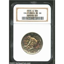 1925-S 50C California MS66 NGC. Mottled purple and gray patina with underlying wheaten tones builds.