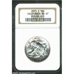 1925-S 50C California MS67 NGC. A spectacular representative of the issue, this coin is bright in th