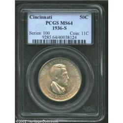 1936-S 50C Cincinnati MS64 PCGS. The exceptionally clean obverse and bold mint luster are suggestive