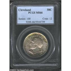 1936 50C Cleveland MS66 PCGS. Beautifully toned with waves of aqua, honey-gold, and lavender colors.