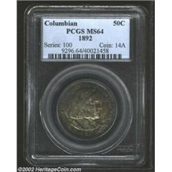 1892 50C Columbian MS64 PCGS. Complimentary hues of blue, crimson, russet, and gray blend in eye ple