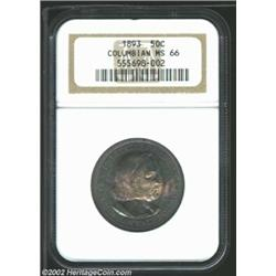 1893 50C Columbian MS66 NGC. Gorgeously toned with blushes of aqua and mauve patina on each side, wh