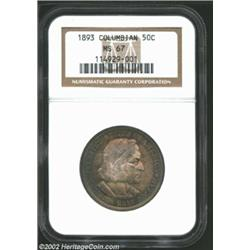 1893 50C Columbian MS67 NGC. This is a beautifully and originally toned Superb Gem. Dominant antique