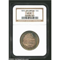 1893 50C Columbian MS67 NGC. Spectacular sea-green, gold, and lavender patina. Well struck and immac
