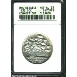 1935 50C Connecticut--Cleaned--ANACS. Unc Details, Net AU55. A brilliant example that has subdued lu