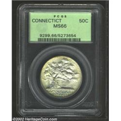 1935 50C Connecticut MS66 PCGS. Faint golden patina on the obverse is well matched with overtones of