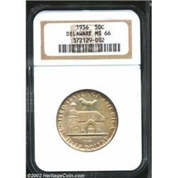 1936 50C Delaware MS66 NGC. A few sprays of tan tinged patina drift over otherwise silver-gray featu
