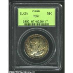 1936 50C Elgin MS67 PCGS. The rich golden-brown and sea-green patina lightens as it approaches the c