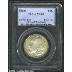 1936 50C Elgin MS67 PCGS. A superlative, wholly original Elgin, with dappled russet and iridescent o