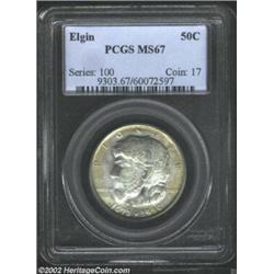 1936 50C Elgin MS67 PCGS. Blushes of light golden-brown patina intrude upon the otherwise steel-blue