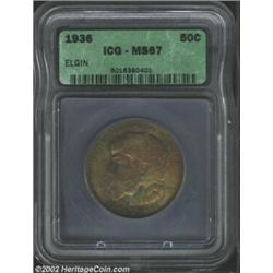 1936 50C Elgin MS67 ICG. Deeply toned with copper-gold and sea-green colors, although the reverse al