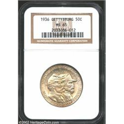 1936 50C Gettysburg MS65 NGC. Strokes of color in the details boldness and contrast to the design of