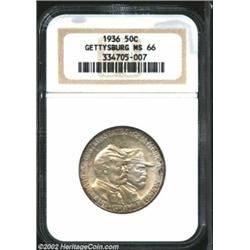 1936 50C Gettysburg MS66 NGC. Light, mottled, champagne-gray and tan-russet iridescence drifts over.