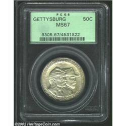1936 50C Gettysburg MS67 PCGS. Streaks of pale tan patina overlay otherwise golden-gray tinting. Ful