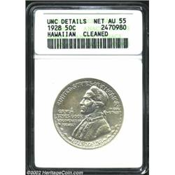 1928 50C Hawaiian--Cleaned--ANACS. Unc Details, Net AU55. An untoned and hairlined example of this d