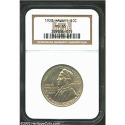 1928 50C Hawaiian MS65 NGC. Bright and satiny with a dusting of golden-gray iridescence, this Gem is