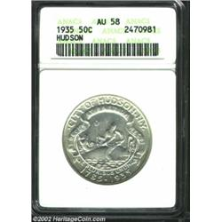 1935 50C Hudson AU58 ANACS. A silver-gray piece that has extensive satiny luster. A few very faint s