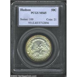 1935 50C Hudson MS65 PCGS. The golden-brown patina lightens as it approaches the centers, while the.