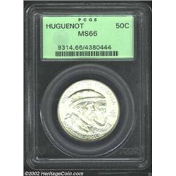 1924 50C Huguenot MS66 PCGS. A lustrous and needle-sharp premium Gem that has silver-gray patina alo