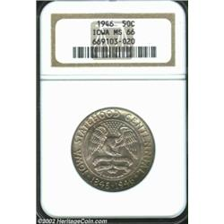 1946 50C Iowa MS66 NGC. Champagne-gray toning overlays both sides of this pleasingly original Gem. T