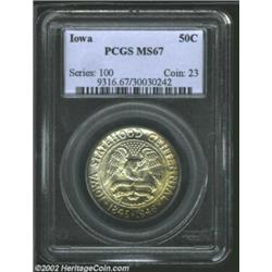 1946 50C Iowa MS67 PCGS. Just a dash of color is noted on this boldly lustrous superb-Gem specimen..