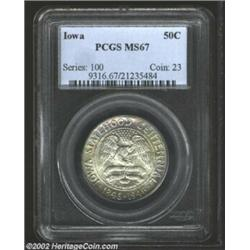 1946 50C Iowa MS67 PCGS. Gentle bluish-gray hues on the obverse and reverse of this specimen add to.