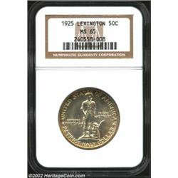 1925 50C Lexington MS65 NGC. Boldly struck details and lustrous fields are framed by an attractive a