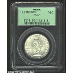 1925 50C Lexington MS65 PCGS. The obverse is especially free of luster grazes for the grade, while b