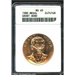 1980 American Arts Commemorative Series One Ounce Gold Medal MS65 ANACS. Grant Wood. A few swirls of
