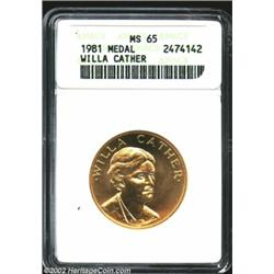 1981 American Arts Commemorative Series Half Ounce Gold Medal MS65 ANACS. Willa Cather. Every bit th