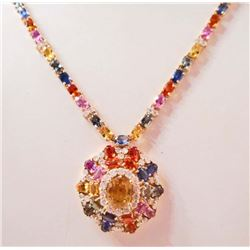 14KT GOLD MULTI-COLOR SAPPHIRE AND DIAMOND NECKLACE W/ APPRAISAL