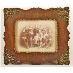 ANTIQUE VICTORIAN ERA MOUNTED FAMILY PHOTO  - FRAMED